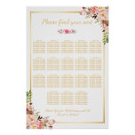 18 Tables Wedding Seating Chart Floral Gold Frame