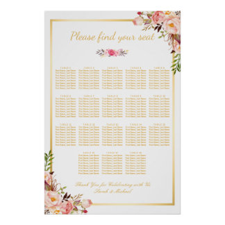 18 Tables Wedding Seating Chart Floral Gold Frame Poster