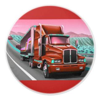 18 Wheeler Freight Truck on a Ceramic Door Knob