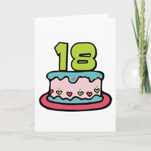 18 Year Old Birthday Cake Card