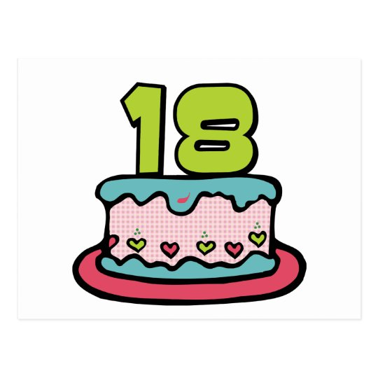 18 Year Old Birthday Cake Postcard