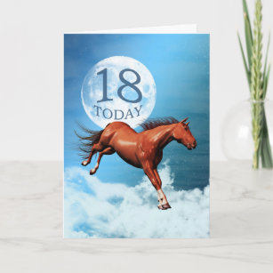 18 Years Old Birthday Card With Spirit Horse