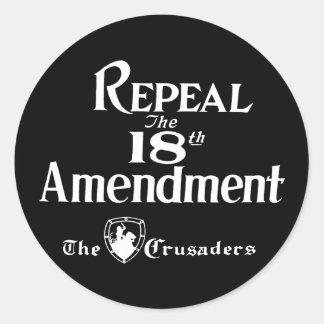 18th Amendment Classic Round Sticker