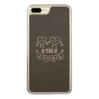 18th Anniversary Chalk Hearts Carved iPhone 7 Plus Case