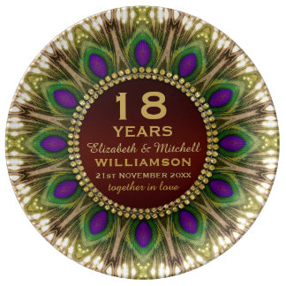 18th Anniversary Porcelain Plate | Peacock Feather