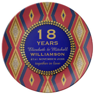 18th Anniversary Porcelain Plate | Red+Gold+Blue