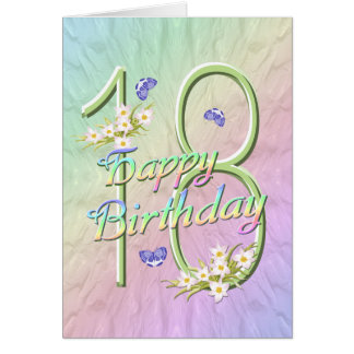 18th Birthday Butterflies and Flowers Card