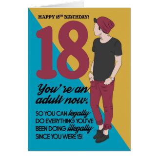 18th Birthday Card, Fun And Trendy, Humour Card