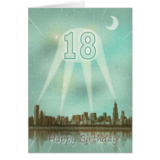 18th Birthday card with a city and spotlights