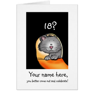 18th Birthday Cat- Customize with Age and Name Card