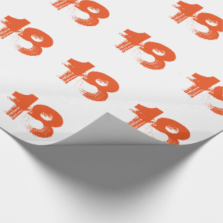 18th birthday for anyone, orange on white. wrapping paper