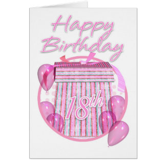18th Birthday Gift Box - Pink - Happy Birthday Card