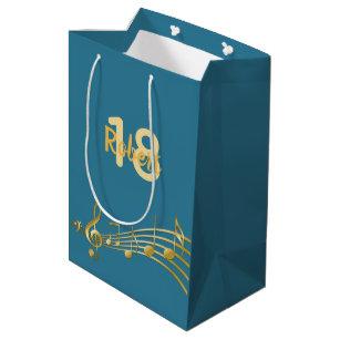 18th Birthday Gold Music Notes Teal Blue Green Medium Gift Bag