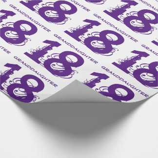 18th Birthday granddaughter, purple text on white. Wrapping Paper