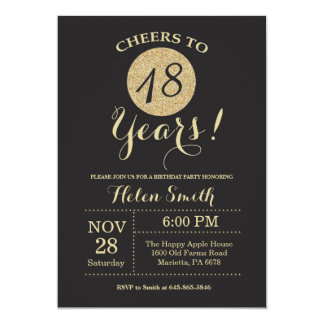 18th Birthday Invitation Black and Gold Glitter