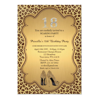 "18th Birthday invitation, numbers diamonds,Cheetah 5"" X 7"" Invitation Card"