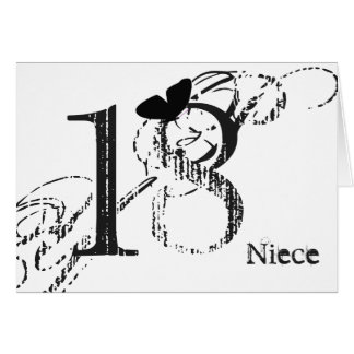18th birthday, niece, butterfly, black & white. greeting card