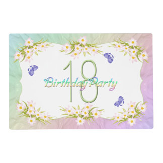 18th Birthday Party Butterflies and Wildflowers Laminated Placemat