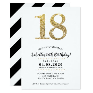 18TH BIRTHDAY PARTY INVITE modern gold glitter