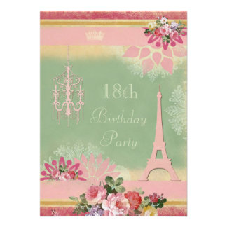18th Birthday Pink Eiffel Tower and Chandelier Personalized Invites