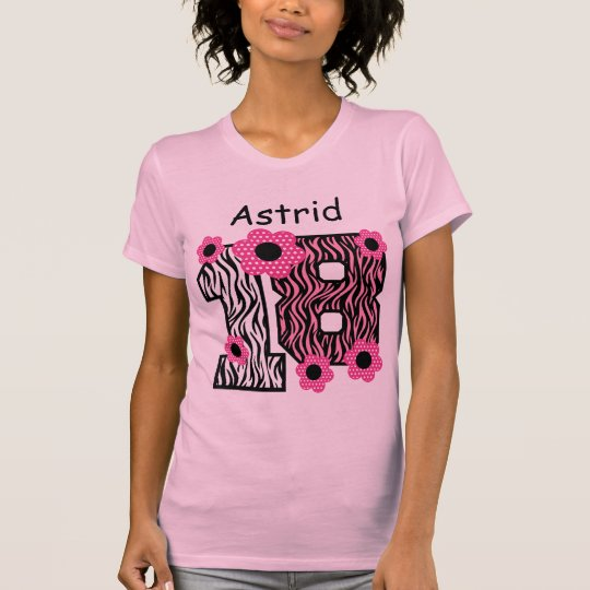 18th Birthday Pink Zebra Custom Name V025A4J T-Shirt