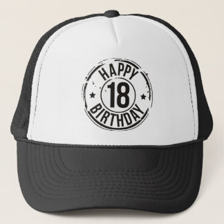 18TH BIRTHDAY STAMP EFFECT TRUCKER HAT