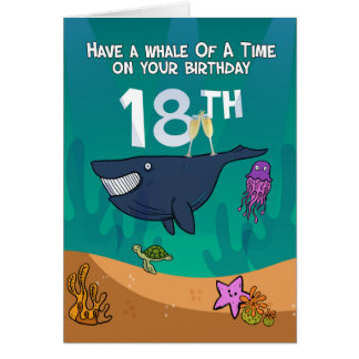 18th Birthday, Whales Starfish and turtle, card