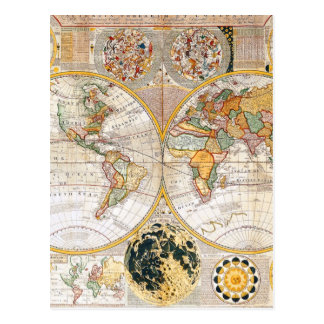 18th Century Dual Hemisphere Map Postcard