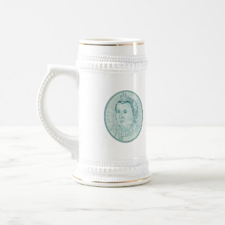 18th Century European Empress Bust Oval Drawing Beer Stein