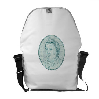 18th Century European Empress Bust Oval Drawing Messenger Bag