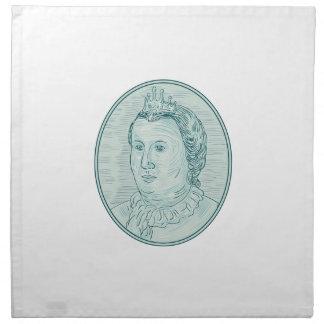 18th Century European Empress Bust Oval Drawing Napkin