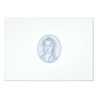 18th Century Russian Empress Bust Oval Drawing Card