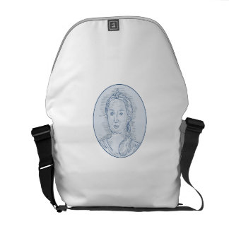 18th Century Russian Empress Bust Oval Drawing Commuter Bags
