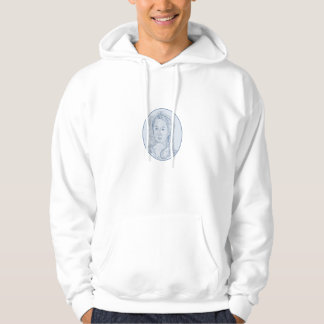 18th Century Russian Empress Bust Oval Drawing Hoodie