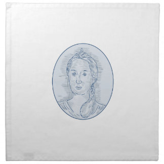 18th Century Russian Empress Bust Oval Drawing Napkin