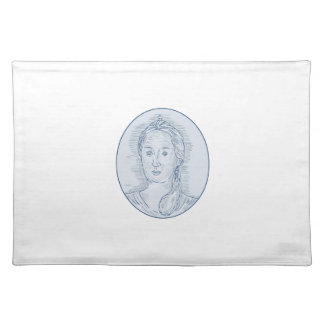 18th Century Russian Empress Bust Oval Drawing Placemat