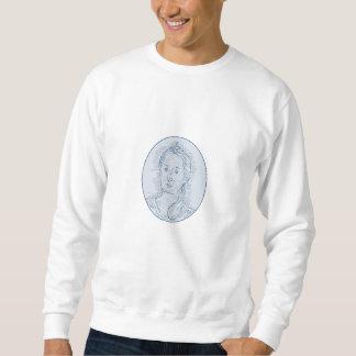 18th Century Russian Empress Bust Oval Drawing Sweatshirt