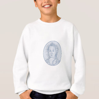 18th Century Russian Empress Bust Oval Drawing Sweatshirt