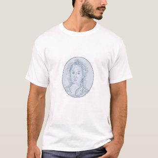 18th Century Russian Empress Bust Oval Drawing T-Shirt