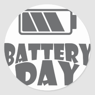 18th February - Battery Day - Appreciation Day Classic Round Sticker