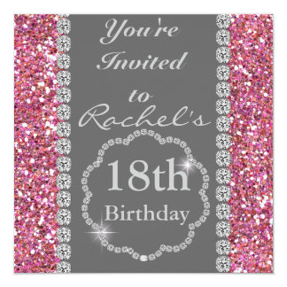 18th PINK BLING Birthday Party Invitation