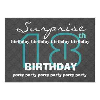 18th SURPRISE Birthday Modern Teal Charcoal W609 Card