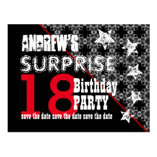 18th Surprise Birthday Save the Date Diagonal W66 Postcard