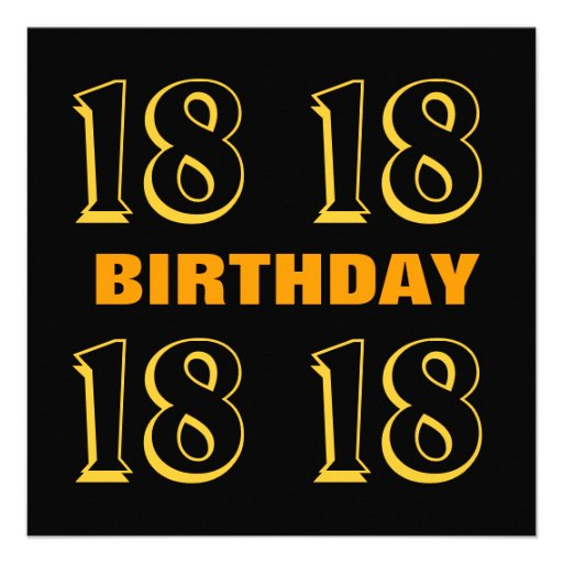 18th Teen Birthday Modern Gold and Black W1124 Custom Invitations