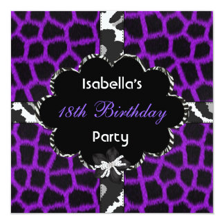 "18th Teen Birthday Party Black White Purple 5.25"" Square Invitation Card"