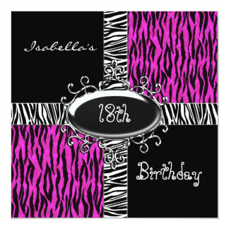 18th Teen Birthday Wild Pink Animal Black Card