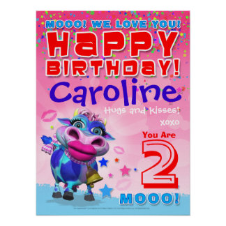 "18x24"" GiggleBellies Kissy Moo Birthday Poster"