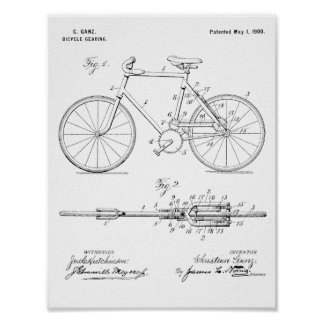 1900 Bicycle Gear Patent Art Drawing Print