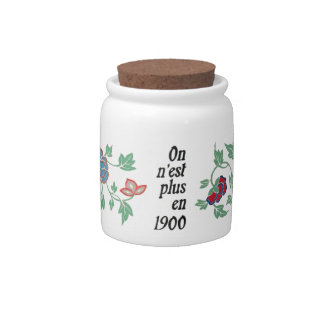 1900 French Flowers Jar Vintage Saying Hipster Candy Jars