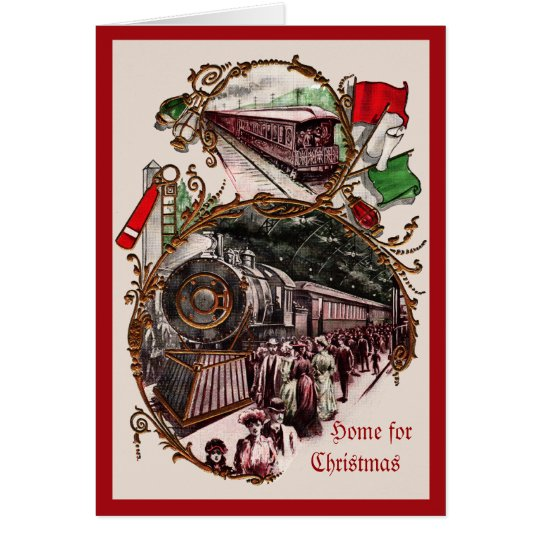 1900s Home for Christmas Train Card